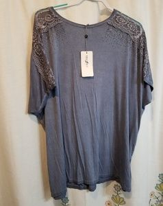 Nwt blue lace bling shirt
